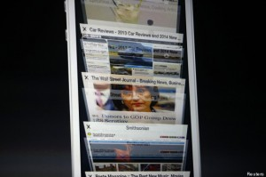 The scrolling feature on Apple iOS7 Safari web browser is presented during Apple Worldwide Developers Conference (WWDC) 2013 in San Francisco