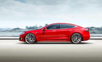 Tesla-red-LH-at-speed