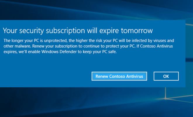 Microsoft a désactivé les antivirus concurrents sur Windows 10