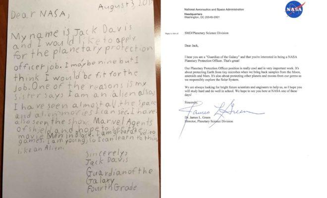 Jack, 9 ans, envoie sa candidature à la Nasa… qui lui répond
