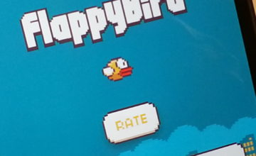 A view of the FlappyBird game open on an iPhone.