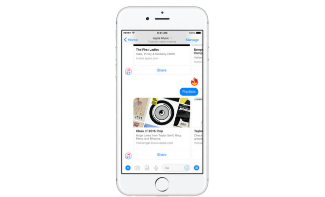 Apple Music désormais disponible au sein de Facebook Messenger