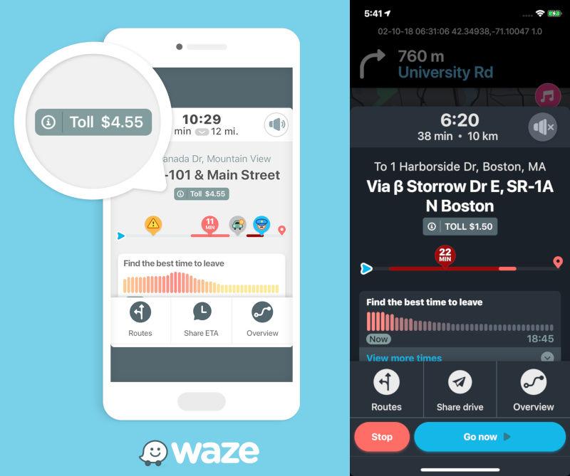 Waze affiche le montant que vous devez payer au péage