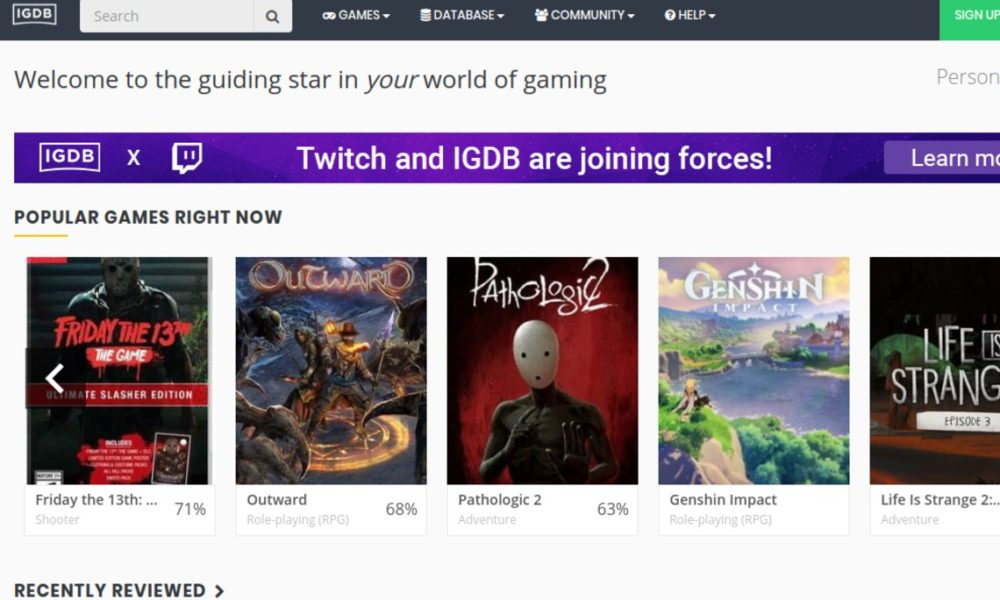 Twitch fait l'acquisition de l'Internet Gaming Database