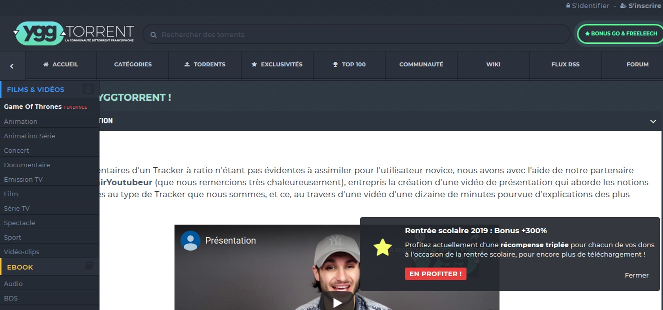 Ygg meilleurs sites de torrents en français