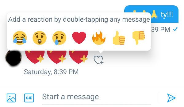 Twitter ajoute les réactions par emojis dans les messages privés
