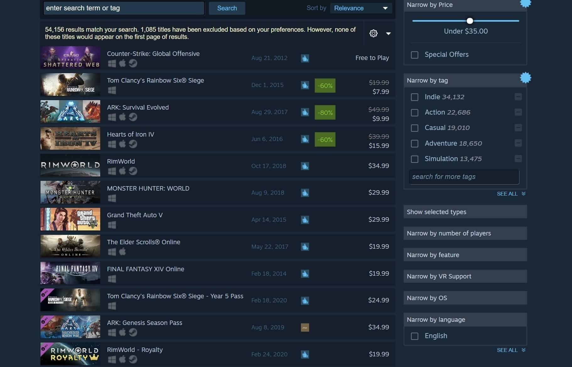 Steam améliore sa fonction de recherche avec de nouveaux filtres