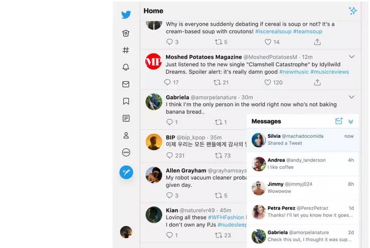 Revue web La nouvelle interface de Twitter facilite l'accès aux messages privés