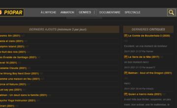 Piopar, qui utilise la même interface que Bovmi, est un site de streaming gratuit et simple d'utilisation pour regarder des films et documentaires.